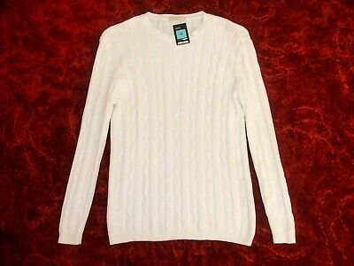 Marks & Spencer M&S White Cable Knit Long-Sleeve Jumper - Size 14 - BNWT