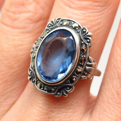 Uncas Mfg Co Antique Art Deco Sterling Silver Topaz Tone Glass Marcasite Ring