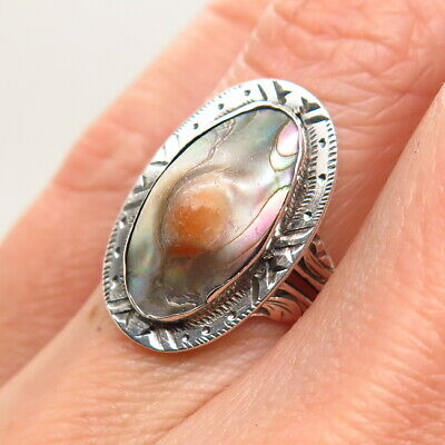 Antique Art Deco Sterling Silver Top Natural Blister Pearl Etched Handmade Ring