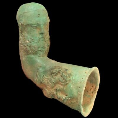Rare Ancient Roman Bronze Bust Rhyton Vessel With Horse & Riders - 200-400 Ad