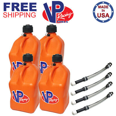VP Racing 4 Pack V-Twin 5 Gallon Fuel Jug Gas Can 4 Safety Valve Hose Fill Kits