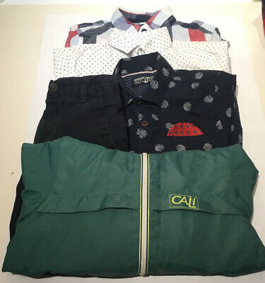 Boys Age 4-5 Clothing Bundle 5 items NEXT Shirts, Green Anorak and Navy Trousers
