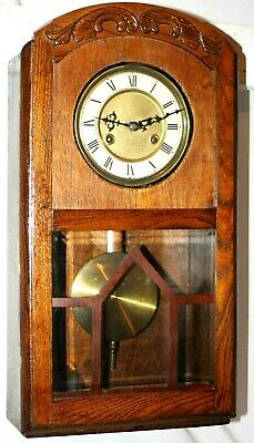 Antique Art Deco German Regulator Wall Clock W/ Deep Gong Strike & Beveled Glass