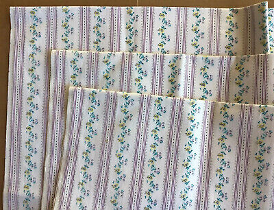 3 Vtg Ticking Pillow Fabric Purple Lilac Stripes &flowers Country Cottage Easter