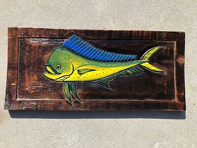 Mahi Bull Dolphin Hand Carved Wood Sign Wall Art Tropical Patio Tiki