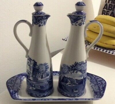 Spode Blue Italian Oil & Vinegar Bottle Set With Tray 7.5 Inches High