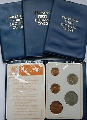 Britains First Decimal Set 1968 5p  , 10p  and 1971 Halfpenny Penny New Twopence