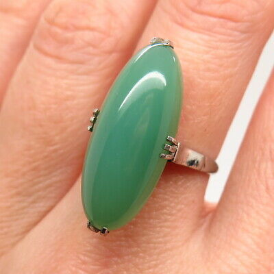 Antique Art Deco 925 Sterling Silver Green Chalcedony Gem Handcrafted Oval Ring