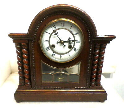 German 110 Year Old Porcelain Dial Twisted Column Mantle Clock