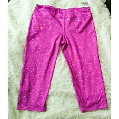 Under armour crop capri athletic leggings girl's youth size xl NEW WITH TAGS