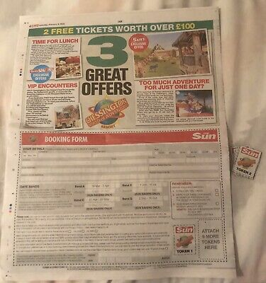 Chessington World Of Adventures booking form and 10 tokens.