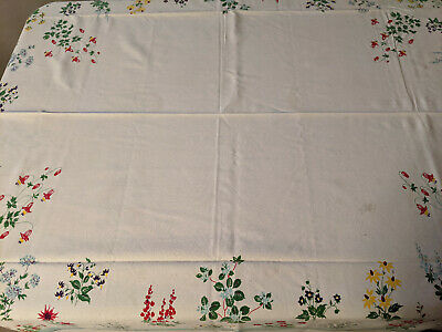 Vintage Tablecloth Colorful Floral Flowers Red Yellow Blue Green 60 x 50