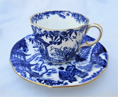 Vintage Royal Crown Derby Demitasse Cup Saucer Blue Willow Gold Trim