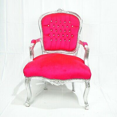 French Louis Style Shabby Chic Chair Pink Velvet With Silver Frame Diamantes