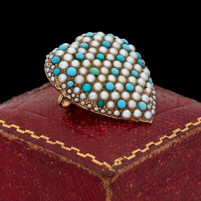 Antique Vintage Nouveau 18k Gold Sweetheart Persian Turquoise Pearl Pin Brooch