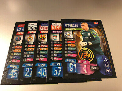 Match Attax Extra 2019/20 Full Set Of All 5 Club Hero Cards Ch1-Ch5 Mint
