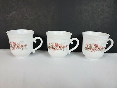 Set of 3 Florentine Arcopal Teacups Coffee Cups Mugs Milk Glass France Retired
