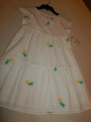 NWT Girls size 8 PINEAPPLE Embroidered Spring Dress Lined Cotton SO SWEET
