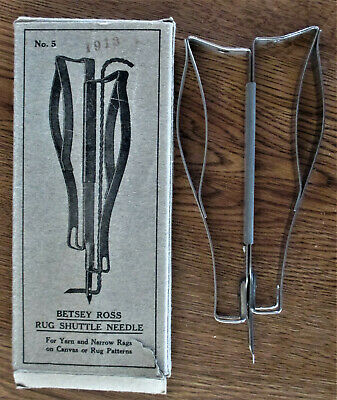 Vintage Rug Hooking Shuttle Needle Tool Betsey Ross No. 5 With Box Never Used