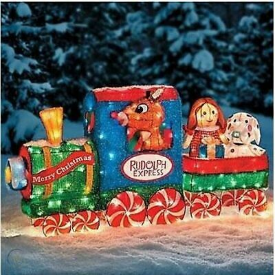Lighted 3D Rudolph the Red Nosed Reindeer Tinsel Train Outdoor Christmas Decor