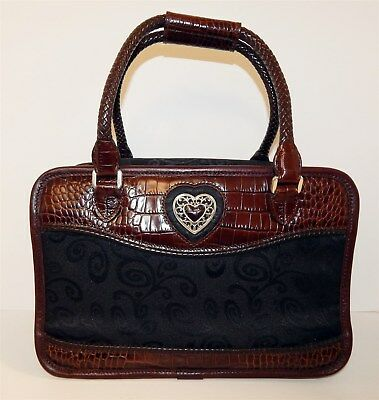 Brighton Brown Croc Leather Black Canvas Make-up Small Toiletry Travel Case