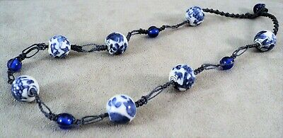 Vtg COBALT & Porcelain PICTORIAL Bead NECKLACE Knotted SILK & Blue GLASS Chinese