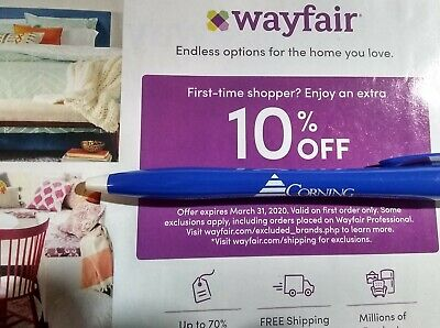 WAYFAIR Coupon Promo Code - 10% Off First Time Order - Expires 3/31/20