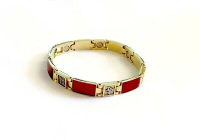 Chinese Good Luck Foil Symbols Gold Toned Red Stone Healing Magnet Bracelet