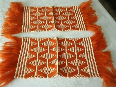 Pair Retro Table Runners Doily Mat Orange White with Fringe Mid Century Modern