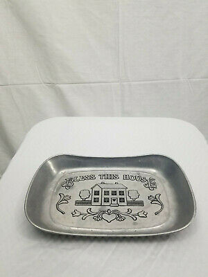 Vintage Wilton Armetale BLESS THIS HOUSE Pewter Alloy Bread tray/serving platter