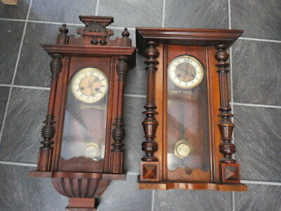 X 2 Antique German Vienna Style 8 Day Wall Clocks For Spares Or Repair