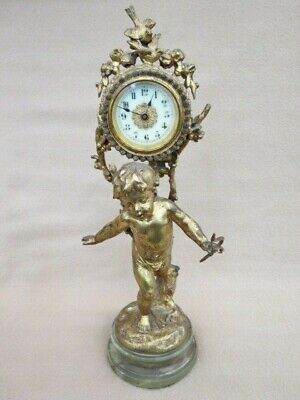 Antique French Figural Gilt Spelter Cupid Clock On Onyx Base