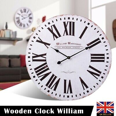 Extra Large 60cm Vintage Wooden Round Wall Clock Retro Antique Distressed Chic