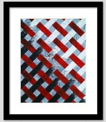"Original Acrylic Abstract Painting Pattern 11""x14"" Canvas Board Black Red White"