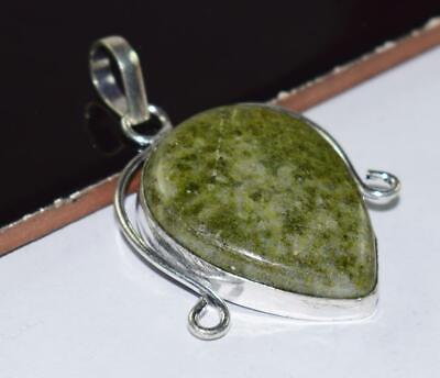 Antique Green jasper Stone 925 Silver Plated Ethnic Pendant MO23-057
