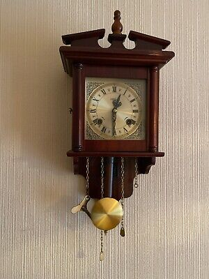 Vintage Highlands Wooden Wall Clock with Brass Face - With Pendulum And Key