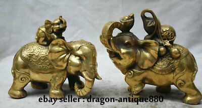 """7.2"""" China Brass Copper Feng Shui Animal Elephant Gourd Wealth Lucky Statue Pair"""