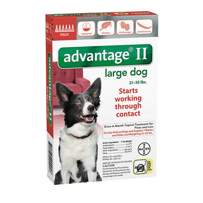 Bayer Advantage II For Dogs 21-55 lbs - 6 Pack (US EPA Approved) Free Shipping