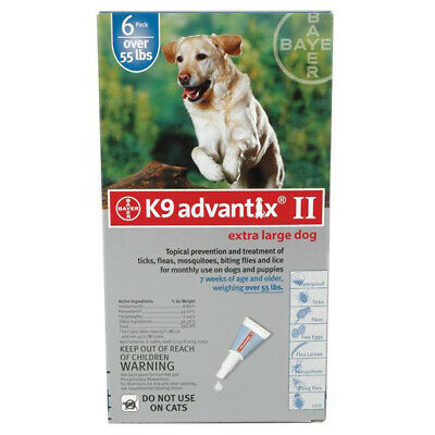 K9 Advantix II for Extra Large Dog Over 55 lbs - 6 Pack (US EPA Approved)
