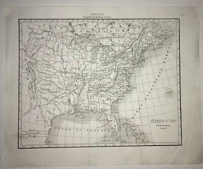 1834 Original United States Map Eastern Section Old Etats-Unis US USA  French