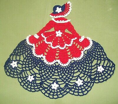 New Crocheted Patriotic Crinoline Lady Doily 9.5 x 10.5 in  Red,White and Blue
