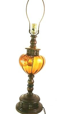 Floral VINTAGE MID CENTURY DANISH AMBER GLASS BRASS &WOOD TABLE LAMP