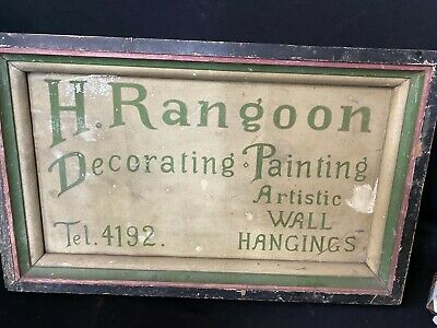 VINTAGE TRADE SIGN H RANGOON DECORATIVE PAINTING ARTISTIC WALL HANGINGS tel 4192