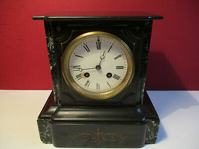 Antique Small French Mantle Clock Black Slate P.R. Movement Working Order