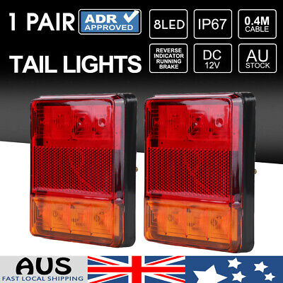 2x 8 LED Tail Light Trailer Stop Indicator Brake Reverse Lamp Waterproof UTE vi