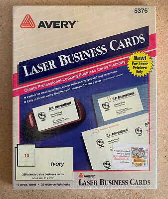 Vintage 1993 Avery Business Cards for Laser Printers 5376, Ivory, 250 New
