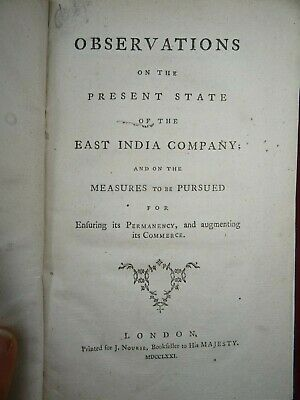 1771 Observations On The Present State Of The East India Company India Bengal ^