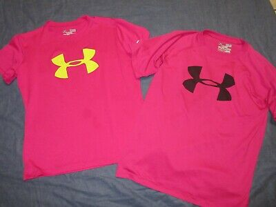 2 Girls Pink Loose Fit Shirts by UNDER ARMOUR - Sz Youth Medium - Spring/Summer