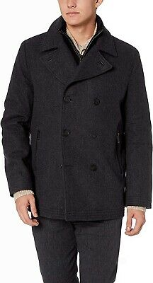 Marc New York by Andrew Marc Mens Charcoal Gray Large L Peacoat Wool $119 #830