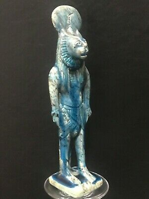 Rare ancient egyptian antique blue glazed faience statue of Sekhmet 1550-1069 bc